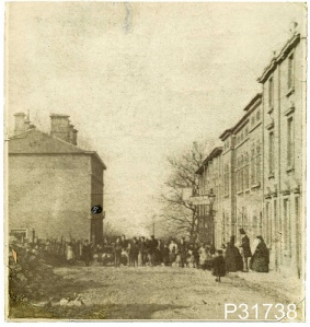 A photograph of Victoria Street (later renamed Victoria Road) probably taken in the 1850s - one of the earliest photographs of Swindon. To the right are the offices of the Swindon Advertiser.