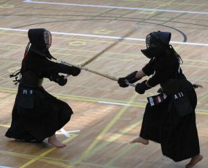 Two fighters wearing Hakama having a Kendo match. (Source: http://en.wikipedia.org/wiki/File:Kendo_EM_2005_-_kote.jpg)