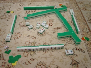 A traditional Japanese Mahjong set. (Source: http://en.wikipedia.org/wiki/File:MahjongSetup.JPG)
