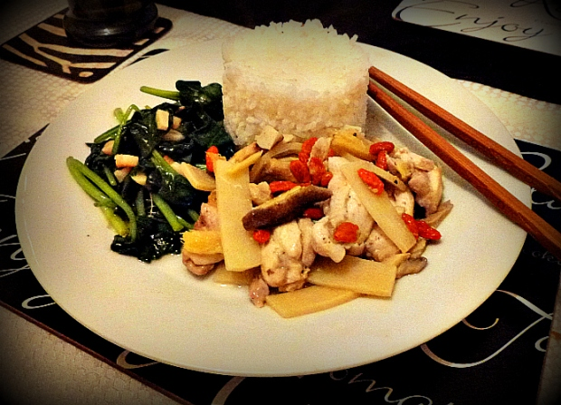 steamed chicken with goji berries