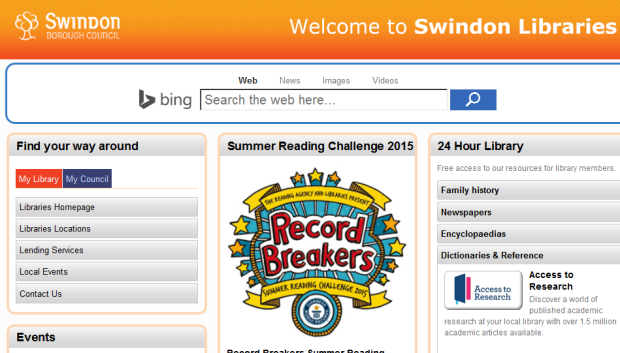 Swindon Libraries homepage